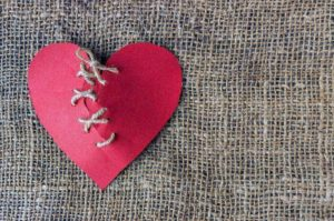 A broken heart fixed with thread