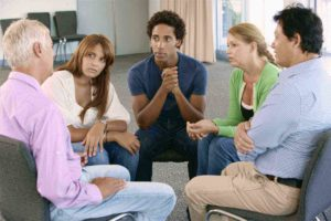 Group meeting in drug rehab